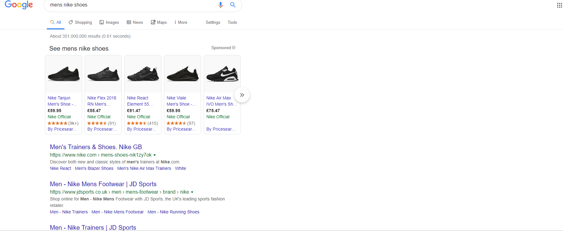 mens nike shoes - transactional search