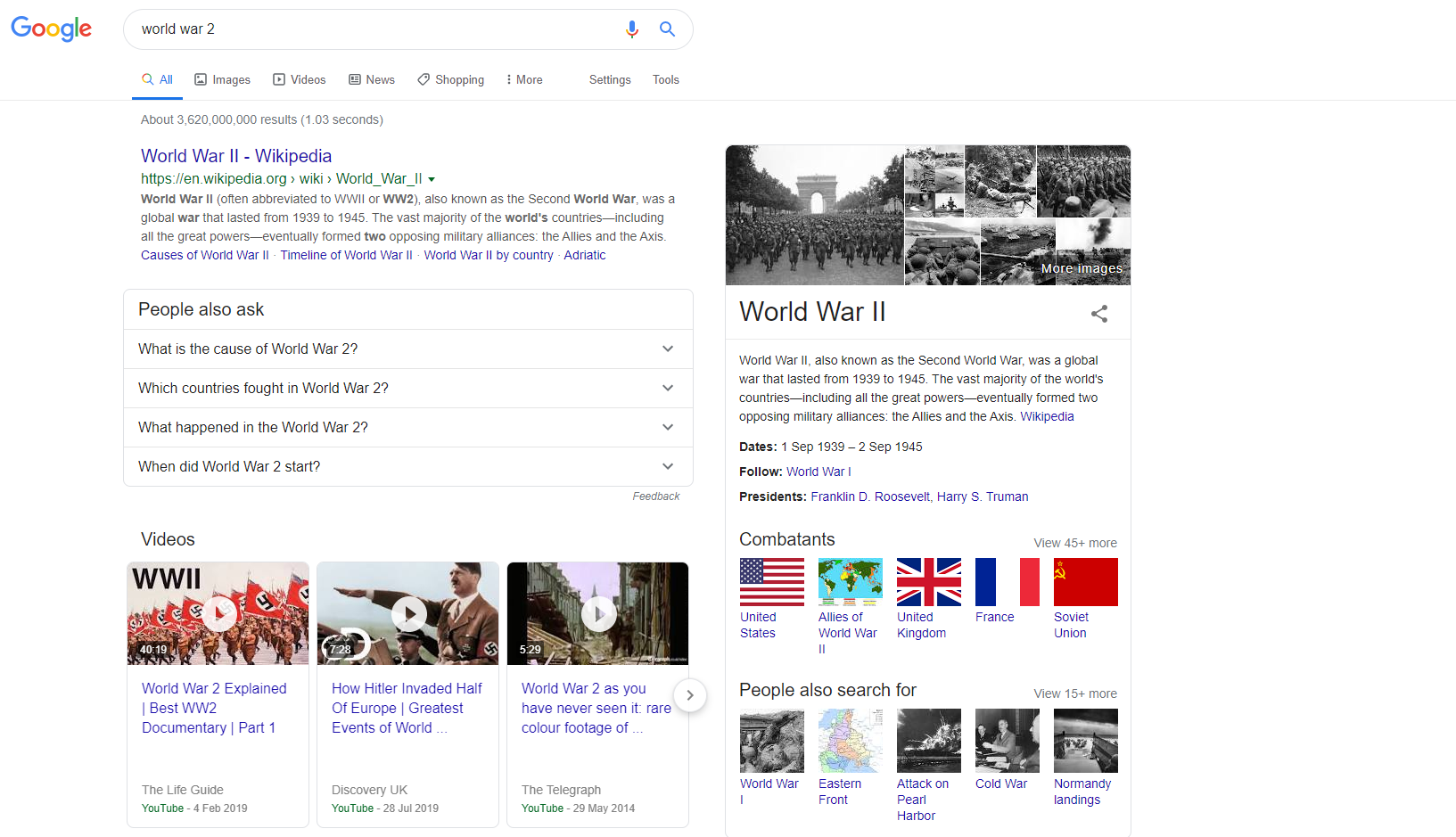 world war 2 - informational search