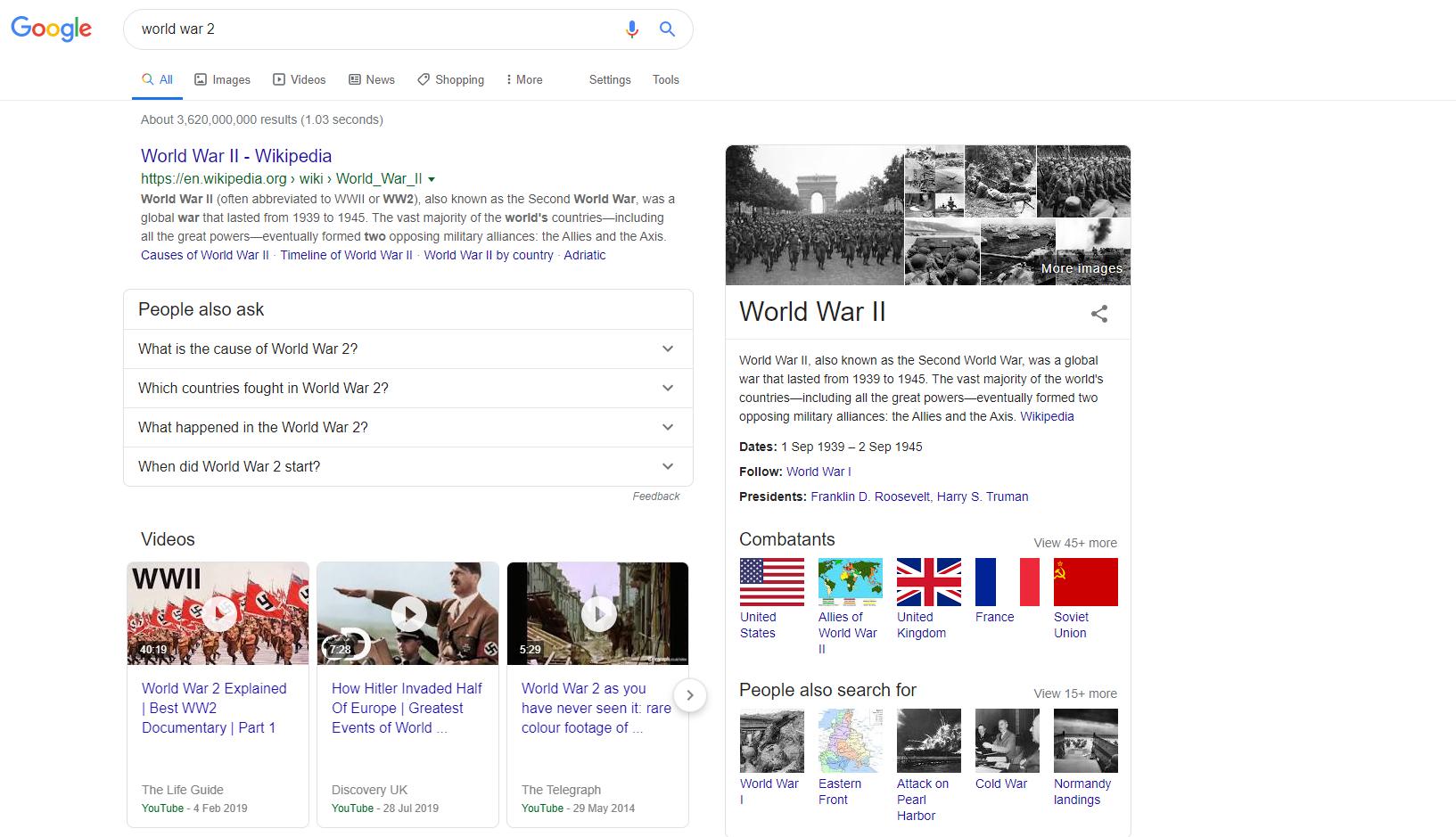 world war 2 - informational search