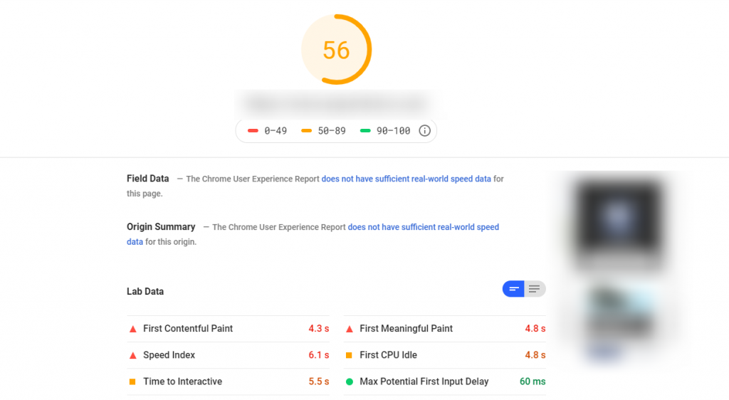Example of page speed insight